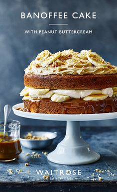 Light and fluffy sponge layered between fresh banana and peanut buttercream with a drizzle of gooey toffee sauce - this bake is too good not to try!