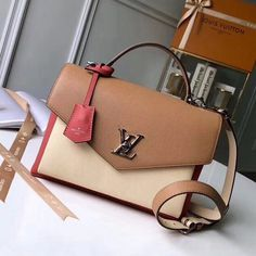 19d8f27504d7 Louis Vuitton Calfskin My Lockme Bag M53506 Vieux Rose Sesame Creme Louis  Vuitton 2017