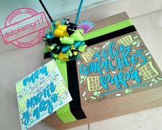 Detalles personalizados 💜 @dulceamor17 Instagram Hermosos y deliciosos desayunos, meriendas y anchetas sorpresa personalizadas! Personalizamos tus ta... #yooying Diy Gift Box, Gift Baskets, Ideas Para, Gift Wrapping, Lettering, Boyfriend, Tela, Custom Boxes, Personalized Gifts