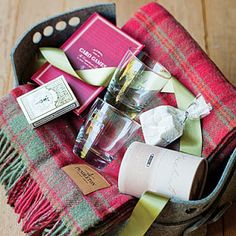 Love this - Weekend Getaway basket - pair with a Nice Gift card from a nearby Lodge and dinner package!