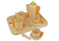 Best kid's tea sets - eco-friendly option, this smooth-feel I'm Toy Wooden Tea Set is made using environmentally-friendly materials including rubberwood.