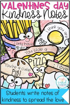 These student valentines are perfect writing notes of kindness to other students, school staff, or family. Students will have so much fun writing kind letters to others on these adorable food valentines!
