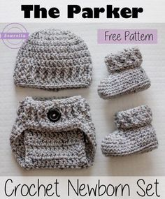 Free pattern for diaper cover, hat and booties can be purchased.