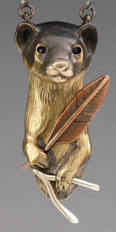 handcrafted animal totem jewelry, weasel jewelry, weasel totem jewelry