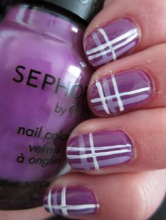 "I desperately want the purple creme used for the base of this mani. It's called ""Domestic Goddess"", and it reminds me of Roseanne, my all time favorite tv show! Stylish Nails, Trendy Nails, Cute Nails, Plaid Nails, Striped Nails, Fabulous Nails, Gorgeous Nails, Hair And Nails, My Nails"