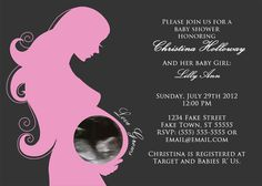 Love Grows Pink - Elegant Printed CUSTOM Baby Shower Invitations for Girl - 5 x 7 Flat Double Sided - Baby Girl, Sonogram, Custom Photo