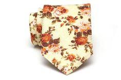 Mens Tie TC019 Orange and Yellow Floral Handmade Cotton
