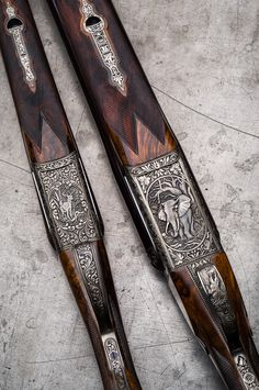 Westley Richards Double Rifles in and engraved by Peter Spode Shotguns, Firearms, Shooting Guns, Custom Guns, Metal Engraving, Hunting Rifles, Cool Guns, Leather Working, Design Inspiration