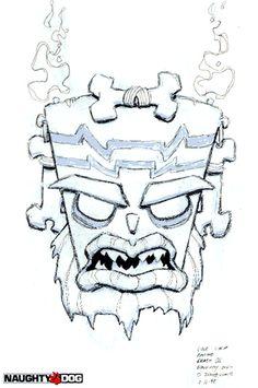 evil tiki design from crash bandicoot