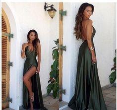 Olive Green Backless Split Elegant Simple Prom Party Dress V-Neck Long Floor Length Evening Gowns
