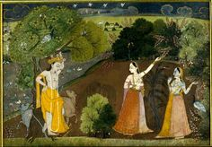 Radha and Krishna in forest, captivated by their mutual beauty, From a poem of Bhagwan Kavi.    Bilaspur, India.  1780
