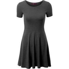 Doublju Women Casual Short Sleeve Round Neck Flare Mini Dress (€9,91) ❤ liked on Polyvore featuring dresses, flared mini dress, round neck dress, mini dress, short dresses and short-sleeve dresses