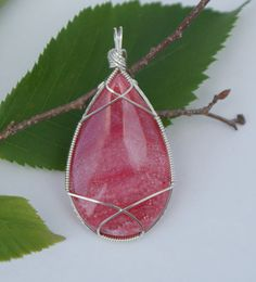 Pink Rhodochrosite Pendant, Wire Wrapped Pendant, Large Semi-precious Pink Stone Jewelry, Argentium Silver