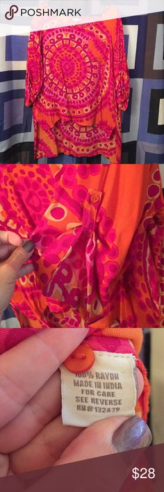 💐 Bright Pink & Orange Hi-Low Blouse 💐 Blouse has no snags in material. No signs of wear. Small pocket on left chest side. Sleeves button & comes with extra button MK Larsen Gray Tops Blouses