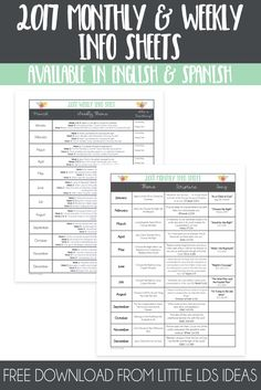 Stay organized in 2017 with these FREE LDS Primary Monthly and Weekly Info Sheets. A great addition to your Presidency Binder. via @https://www.pinterest.com/littleldsideas/