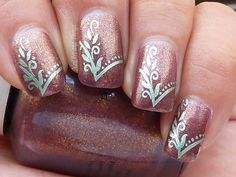 Indian wedding nail art.....in light pink with gold