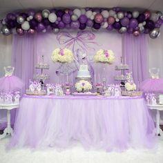 Purple Ballerina Birthday Party - Pink And Purple Birthday Decoration Ideas Lilac Baby Shower, Lavender Baby Showers, Baby Girl Shower Themes, Girl Baby Shower Decorations, Butterfly Baby Shower, Ballerina Party, Ballerina Baby Showers, Ballerina Birthday Parties, Ballerina Dress