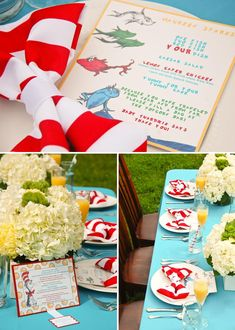 Red and white striped napkins pinched into a bow tie, custom menu, and popcorn bar (could be replaced by candy bar)