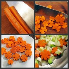 ~~***CARROT FLOWER IDEA***~~    Cut a series of long, shallow wedges along the surface of the carrot.    Place your knife against the carrot at a (more or less) 45 degree angle.  Press down to make a shallow cut, being careful not to cut all the way through.    Turn the carrot around and make a matching cut to meet the first cut.  Carefully wiggle your knife to dislodge the carrot wedge and set aside.    Repeat five or six times around the carrot, then slice the carrot into coins.