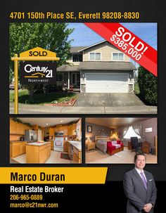 #SOLD  Cheers to Marco Duran and to the new owners of Two-story with 3 bedrooms and 2 ½ bathrooms in a quiet location overlooking a garden with no immediate neighbors to the right or left and a spacious backyard in #Everret  MLS # 1130091
