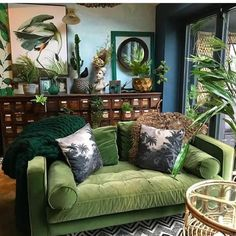 Living Room With Tv, Boho Living Room, Home And Living, Living Room Decor, Bohemian Living, Bohemian Decor, Bohemian Kitchen, Green Living Room Ideas, Cozy Eclectic Living Room