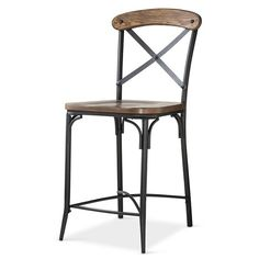 """Bralton 24"""" Counter Stool Steel/Brown - The Industrial Shop™"""