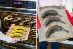 Ripen bananas quickly by baking them for 40 minutes in a 300 degree oven.