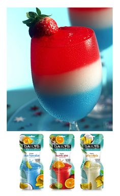 Make an easy and delicious red, white and blue cocktail by layering these Daily's frozen tropical cocktail flavors: Blue Hawaiian, Piña Colada and Hurricane. Perfect for Memorial Day weekend, 4th of July or anytime you want a tropical treat!