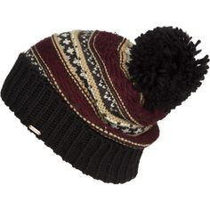 Free People Snow Bound Pom Pom Beanie ($29) ❤ liked on Polyvore featuring accessories, hats, beanies, pom pom hat, beanie cap hat, print hats, beanie hat and pompom hat