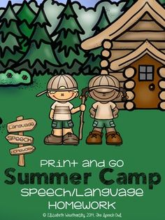 """Who's ready for summer camp?! This fun """"Print and Go Summer Camp: Speech/Language Homework"""" packet is perfect for summer practice. All of the pages in the packet are black and white. Just print off the speech or language skills you need your students to work on and send them home. Easy as 1...2....3!"""