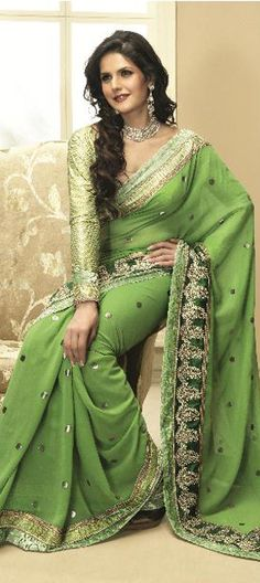 It is one of the favourite saree of zarine khan(bollywood actress and model).Great combination of green colour.Available at- http://www.indianweddingsaree.com/product/65924.html