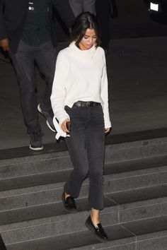 Selena Gomez date night w Justin Bieber - Nov. 3, 2017 - She wrapped up in a cowl-neck knit by Madewell, which featured lacing at the sleeves. Her button-fly denim added a subtle hint of sex appeal, but she kept it in check with a pair of sensible patent leather loafers by Tod's - Photo by Backgrid