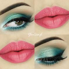 Mermaid Dream #pinklips #tealshadow #eyemakeup - bellashoot.com