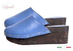 Zeppa Donna Sughero Estate in Pelle Azzurra Cork Wedges Cork Wedges, Ciabatta, Estate, Ipod Touch, Heeled Mules, Heels, Fashion, Heel, Moda