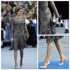 Princess Letizia of Spain in Brownish Gray Chiffon Cocktail Dress Princess Of Spain, Jaime King, Spanish Royal Family, Queen Letizia, High Society, Royal Fashion, My Style, Royal Style, Lace Skirt