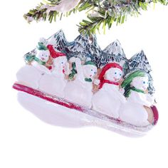 Snowmen tree personalized ornament for a family or group of six