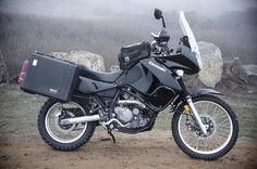 Now this is a beautiful KLR. Check the tank pads and fuel bottle.