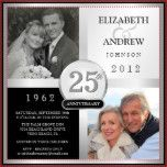 "Create your own elegant 25th Wedding Anniversary Party Invitations -- just add your own ""Then and Now"" photos and customize the name, date, and details for your Silver Wedding Anniversary or any special anniversary celebration -- 10th, 20th, 30th, 35th, 40th, 45th, 60th, 65th. Can be easily customized for other special occasions. **NOTE: Sized for SQUARE invitation cards. Other sizes and styles available."