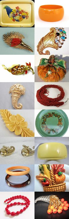 Thanksgiving Cornucopias and Colors Vogueteam #VogueT. Thanksgiving for a successful harvest, for good fortune, for propserity, family, health. The muted auburns, soft reds and browns of late autumn, cornucopias. All beautiful items found in the shops of Vintage Vogue! Curator: Shelli from https://www.etsy.com/shop/GracesVintageGarden