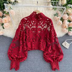Red Blouses, Blouses For Women, Lace Blouses, Lace Tops, Outfit Elegantes, Stand Collar Shirt, Collar Shirts, Short Shirts, Blouse Designs