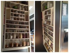 Small Space Solution: The half wall next to the fridge bordered a stairwell and was useless. The wall was opened up and extended a few feet higher. Shelves were added creating a pantry in a house that did not previously have one. hshandymanservices.com