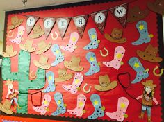 Rodeo theme bulletin board! Boots & hats with Yeehaw banner & cactus