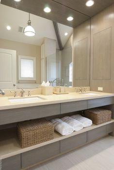Gray vanity long, open shelves, cream top, full mirror