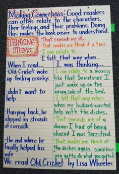 Making Connections - Anchor Chart - Think Aloud - Comprehension Lesson - Old Cricket by Lisa Wheeler - I used this in a 2nd grade classroom. They loved the book!