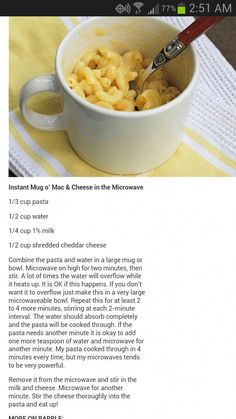 Microwave Mac and Cheese It takes care to make the pasta beautiful, which is . Mac And Cheese Microwave, Easy Microwave Recipes, Baking Recipes, Dessert Recipes, Mac And Cheese Mug, Microwave Cookies, Microwave Meals, Easy Snacks, Clean Eating Snacks