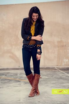Yes, yes, yes...mustard yellow, polka dots, gray jacket, jeans and worn boots.