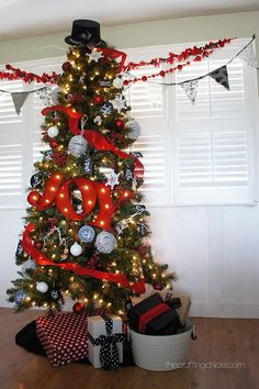 red white black christmas tree