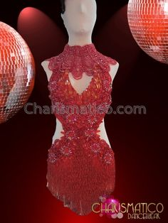Charismatico Dancewear Store - CHARISMATICO Ornately Beaded Red Mambo Salsa Dress With Petite Gothic Necklace, $270.00 Mambo/Tango inspiration for Figure Skating Dresses