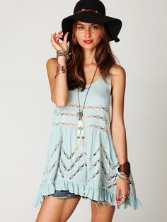 Free People Voile Trapeze Slip in Blue (sky blue)