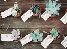 Succulent place cards: http://www.stylemepretty.com/2014/03/21/hilltop-al-fresco-wedding-in-malibu-california/ | Photography: Kurt Boomer - http://kurtboomer.com/